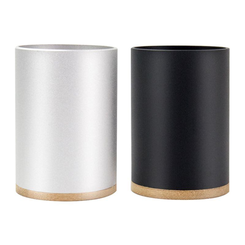 Aluminum Alloy Desk Pen Pencil Storage Organizer Cup Holder Pot Container School N0HC