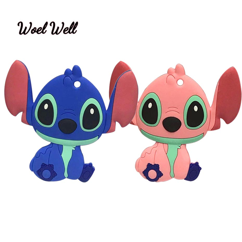 Woel Well 1pcs Baby Teether Cute Silicone Animal Teethers Stitch Silicone Cartoon Stitch Toy BPA Free Silicone Beads DIY Chain