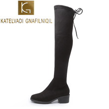 KATELVADI Winter Over The Knee Boots Women Stretch Fabric Thigh High Fashion Woman 4.5CM Square Heels Shoes Size 35-41 K-535