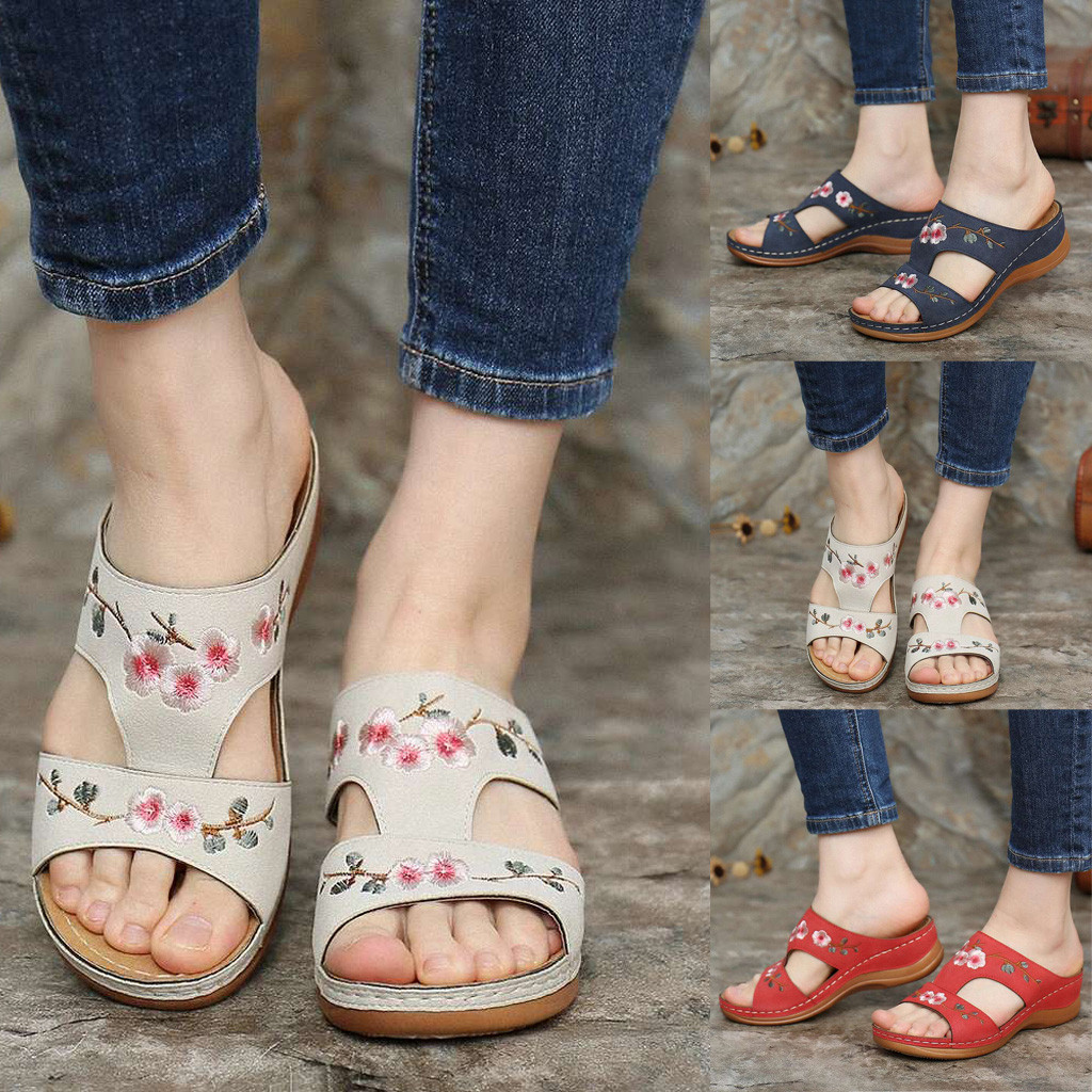 Woman Slippers Flower Platform Colorful Ethnic Flat Shoes Woman Comfortable Casual Fashion Sandals Female 2021 Summer New Hot