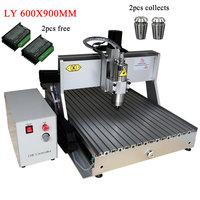DIY ly cnc 6090 engraving machine wood metal router 600x900mm mach3 control system with collects and Nema23 stepper motor driver