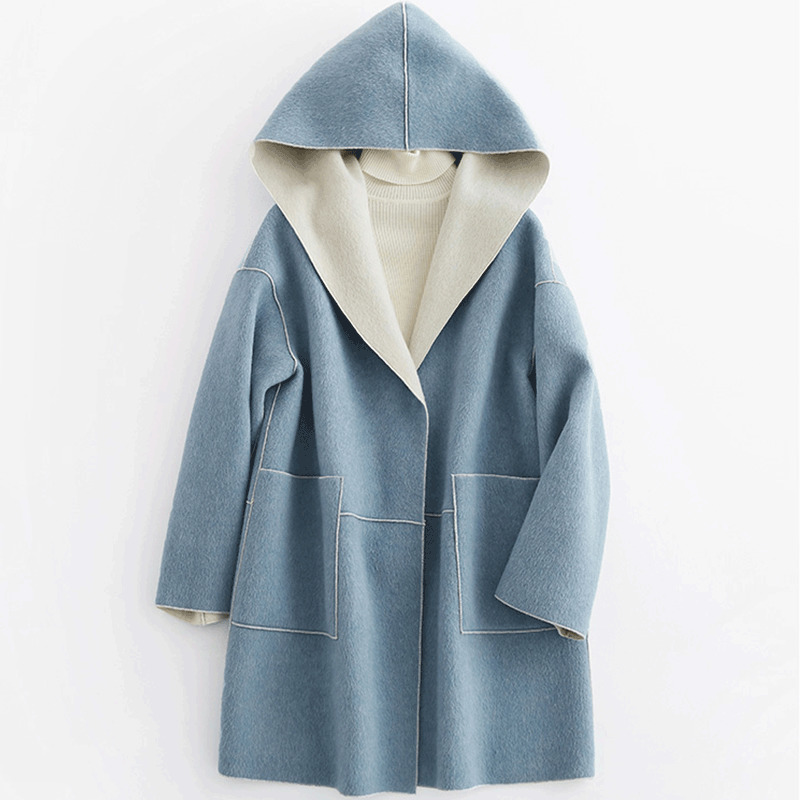 Real 100% laine manteau femme veste 2020 automne hiver veste femmes à capuche Double face laine manteaux coréen Long manteau mon en s