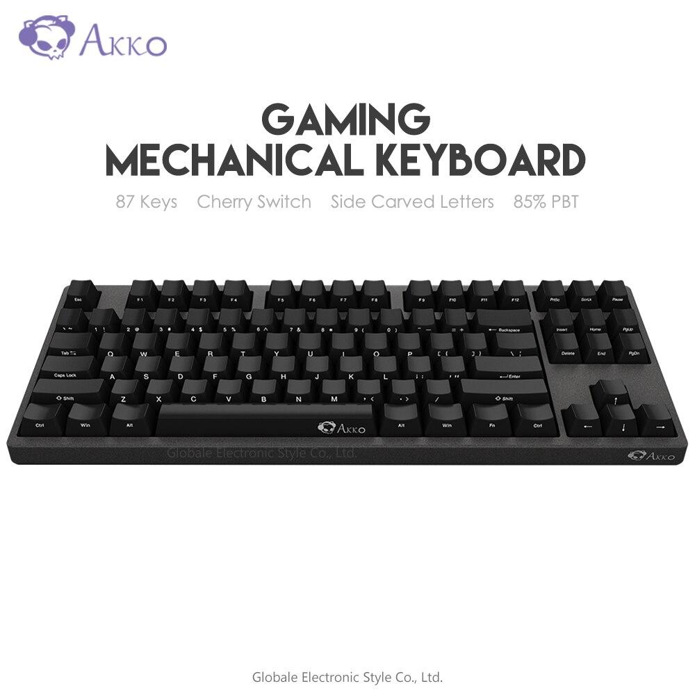 Original AKKO 3087 juego Teclado mecánico interruptor de cereza lado tallado letra Tipo C USB con cable Gamer de ordenador