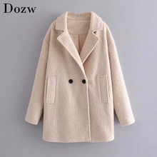 Solid Warm Winter Woolen Coat Elegant Ladies Turn-down Collar Long Sleeve Outwear Coats Winter Thick Warm Chi Female Coat cheap Dozw Cotton Polyester CN(Origin) Regular CX2094 Ages 18-35 Years Old Double Breasted Full Wide-waisted Wool Blends WOMEN