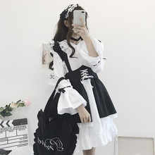 Loli Skirt Dress Clothing Western-Style Cute Black WOMEN'S Meng Spring Students