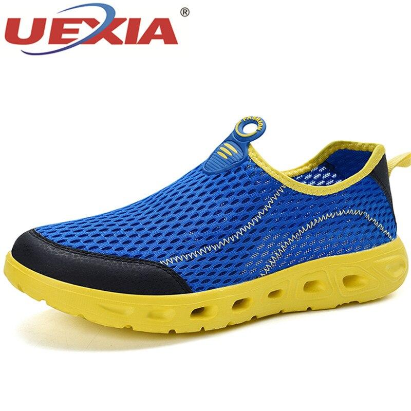 UEXIA Hollow ผู้ชาย Unisex รองเท้าสบายๆฤดูร้อนรองเท้าแตะ AIR ตาข่ายน้ำหนักเบา Breathable Water SLIP-ON รองเท้าผ้าใบ Sandalias Mujer