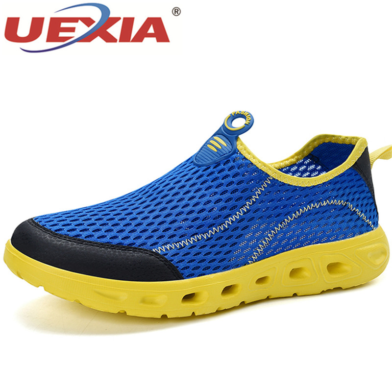 UEXIA Hollow Unisex Men Casual Shoes Summer Sandals Air Mesh Flats Lightweight Breathable Water Slip-on Sneakers Sandalias Mujer