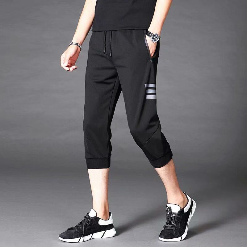 Summer Sports Capri Pants Teenager Skinny Slim-Fit Pants Summer Men Beam Leg Closing Capris Casual Pants