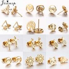 Jisensp mały złoty stal nierdzewna stalowe kolczyki Stud dla kobiet dzieci codzienna biżuteria Cartoon Butterfly Earing krzyż kolczyki brincos