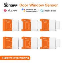 1-50 pces sonoff SNZB-04 zigbee porta janela alarme sensor para ewelink inteligente zbbridge segurança necessário trabalhar com alexa casa do google