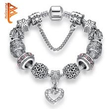 Высокое Качество бусины в форме сердца подходят к оригинальному серебряному браслету браслеты с бусинами из кристаллов и браслеты для женщин модные ювелирные изделия