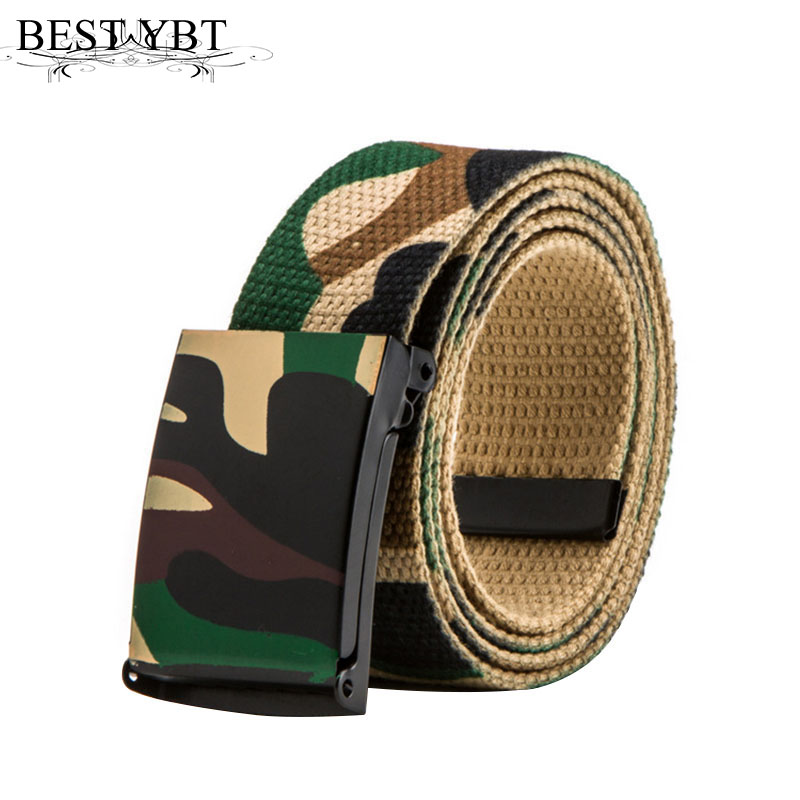 Best YBT Unisex Canvas Belt Iron Soomth Buckle Belt Fashion Army Tactical Waist Jeans Casual Luxury Men And Women Belt