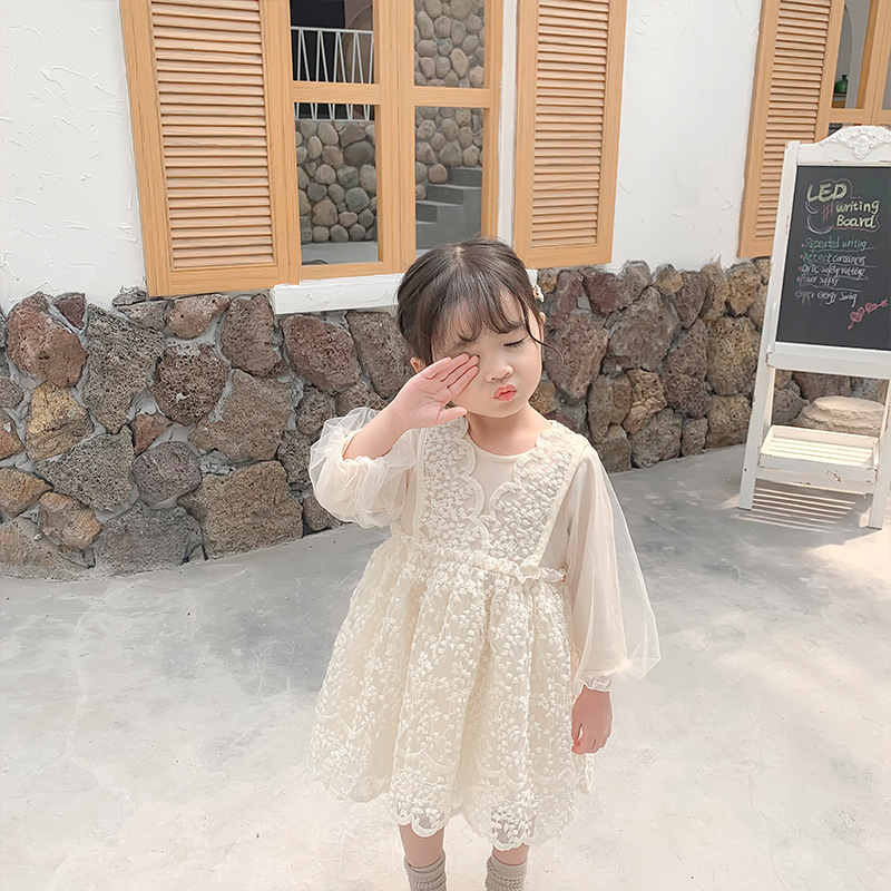 Image 2 - 2019 Autumn New Arrival korean style cotton all match princess lace grenadine long sleeve party dress for sweet cute baby girls-in Dresses from Mother & Kids