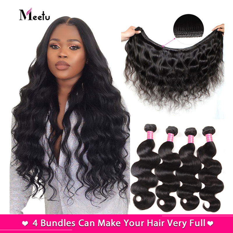 Meetu Malaysian Body Wave 4 Bundles Human Hair Weave Bundles Extensions Natural Black Non Remy Double Drawn Hair Weft