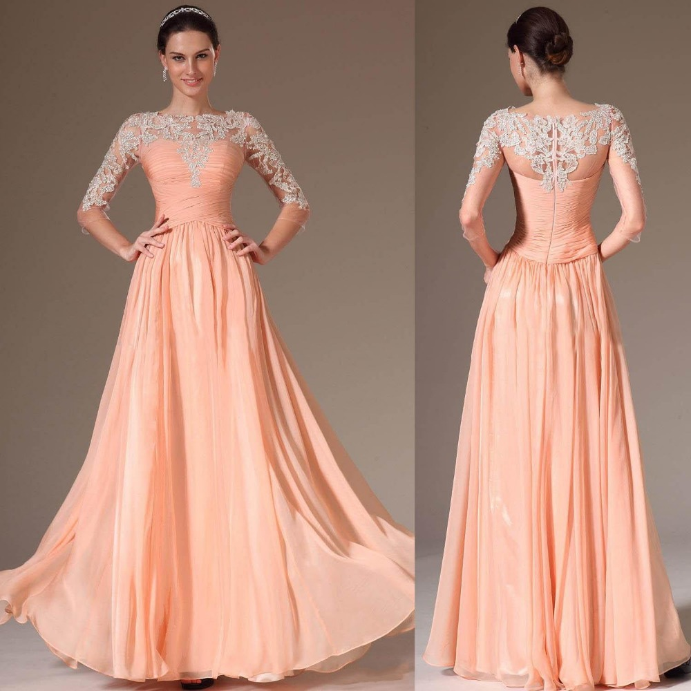 Fashionable A Line Boat Neck With 3/4 Sleeves Chiffon Long Lace See Through 2019 Peach Party Women Mother Of The Bride Dresses