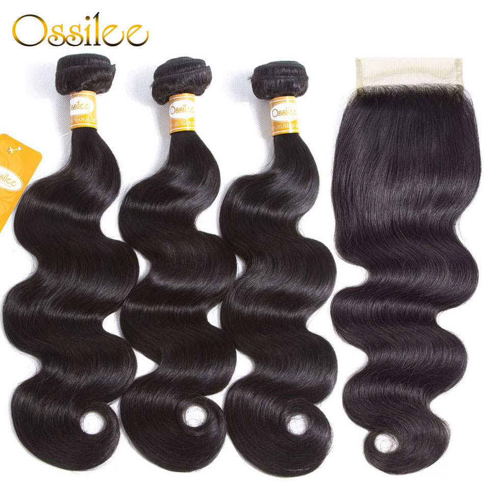 Ossilee Body Wave Bundles With Closure Brazilian Hair Weave Bundles Human Hair Bundles With Closure Remy Hair Middle Ratio