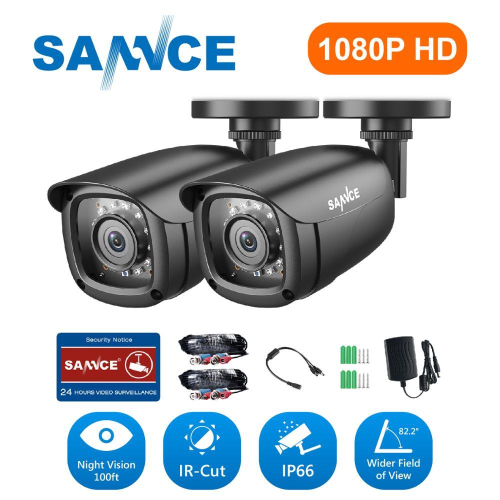 SANNCE 4PCS HD 1080P Metal Indoor Outdoor 100ft IR 2MP CCTV Home Security Camera