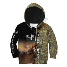Охота лося 3d толстовки с капюшоном и принтом; Детский пуловер;