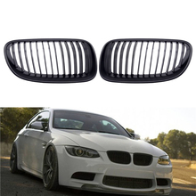 цена на 1 Pair Front Bumper Kidney Twin Fins Sport Grill Grille Car Racing Grille Gloss/Matte M-color Black for BMW E92 E93 2010-2013
