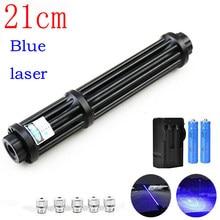 Hight poderosa queima 21cm azul tocha laser 445nm 10000m tocha laser 450nm focalizável lanterna queimar jogo com 5 estrela boné