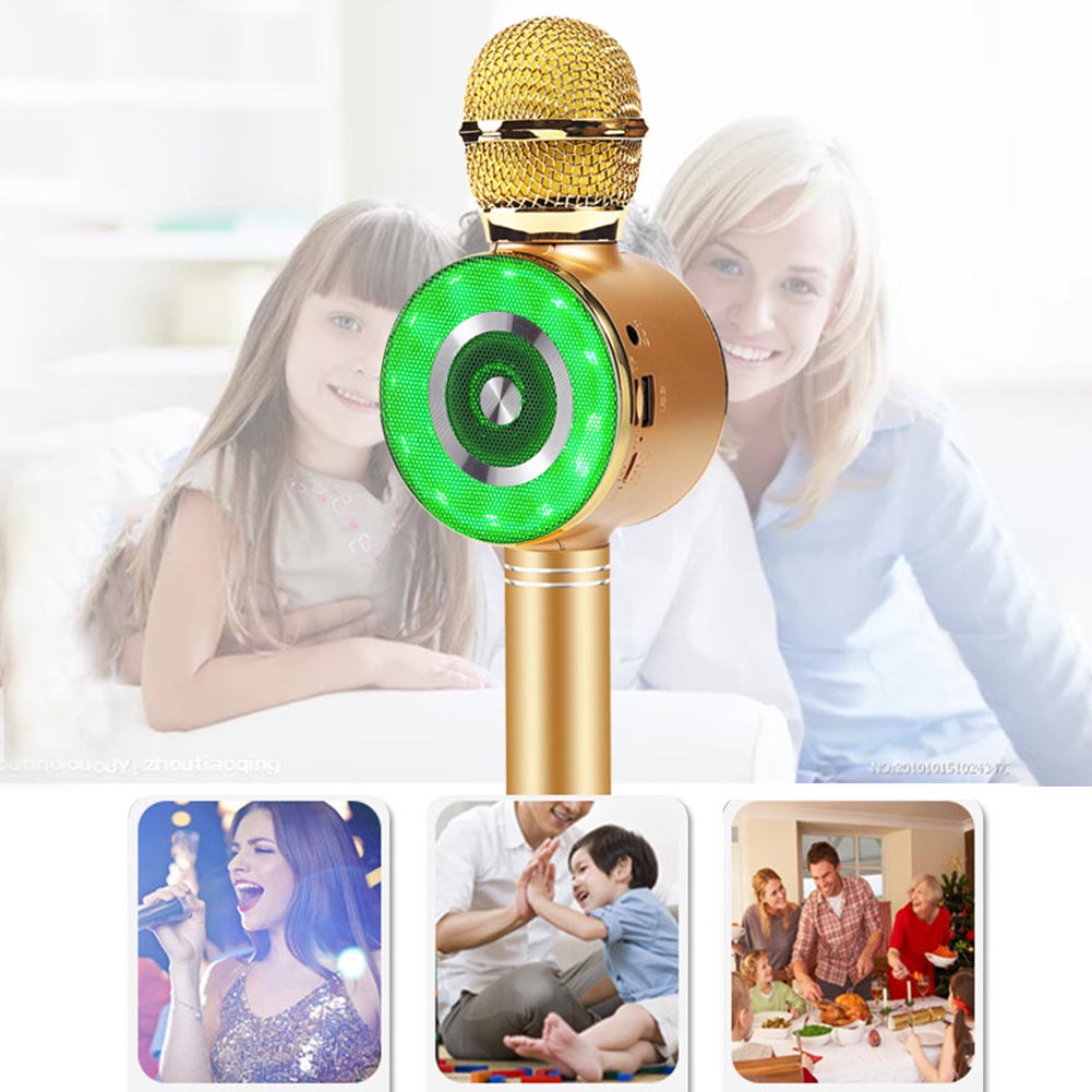 Wireless Bluetooth Gift Home Karaoke Microphone Kid Adult With Light Speakers USB Portable Rechargeable Handheld Party Singing