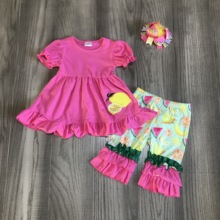 Zomer Baby Meisjes Boutique Hot Pink Top Lemon Bloemen Capri Katoen Outfits Kinderkleding Kidswear Match Accessoires Ruches