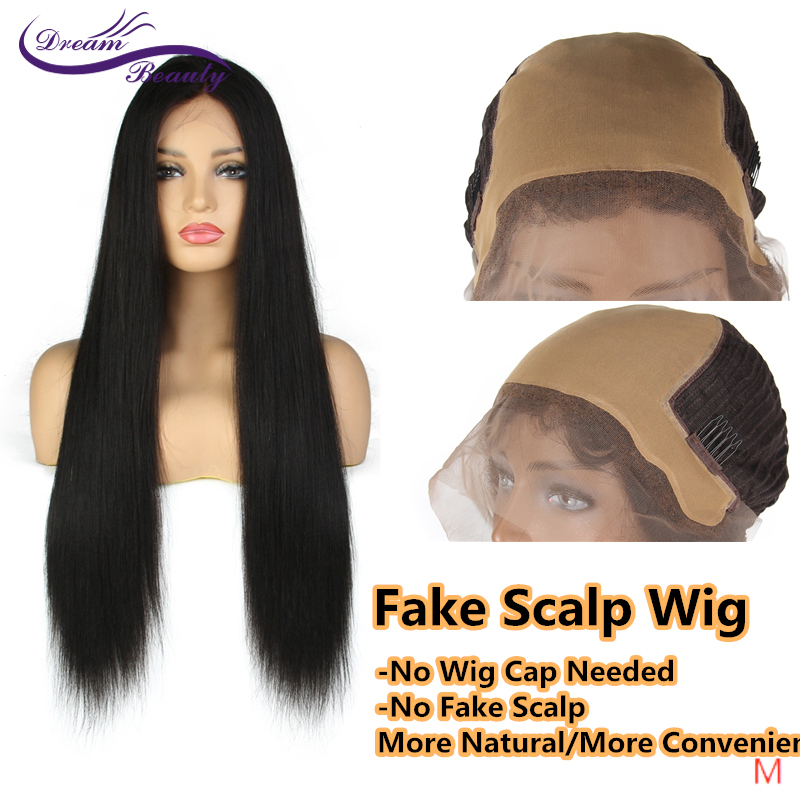 """Dream Beauty Straight Lace Front Wig Remy 13X6 Fake Scalp Brazilian Medium Ratio 8""""-24"""" Straight Lace Front Human Hair Wigs"""