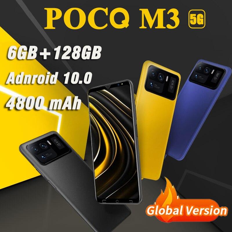 Глобальная версия POCQ M3 мобильные телефоны 6 ГБ + 128 Гб 6,1 HD дюймов android смартфонов 4800 мАч мобильных телефонов Face ID телефон двойной сим-карты