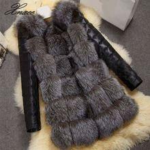 2019 Winter Warm Women Faux Fox Fur Coat with PU Sleeve Jacket Black fur Outerwear 4XL