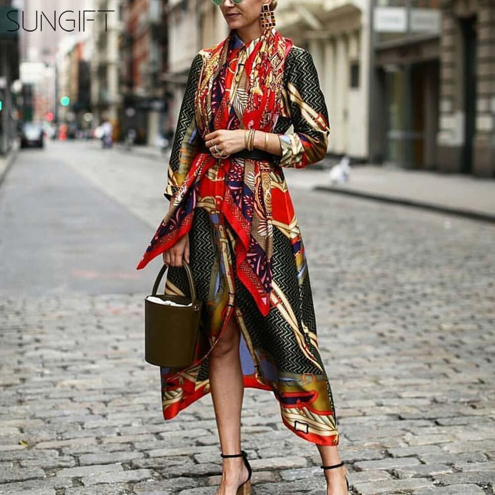 SUNGIFT Dashiki African Dresses For Women Arican Print Silky Satin Long Sleeve Long Shirt With Belt 3 Colors 2019 New Fashion