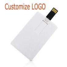 Beyaz plastik kredi kartı/kartı özel Logo iş tasarımı Usb Flash sürücü sopa 4GB 8GB 16GB 32GB (10 adet logo yazdırabilirsiniz)