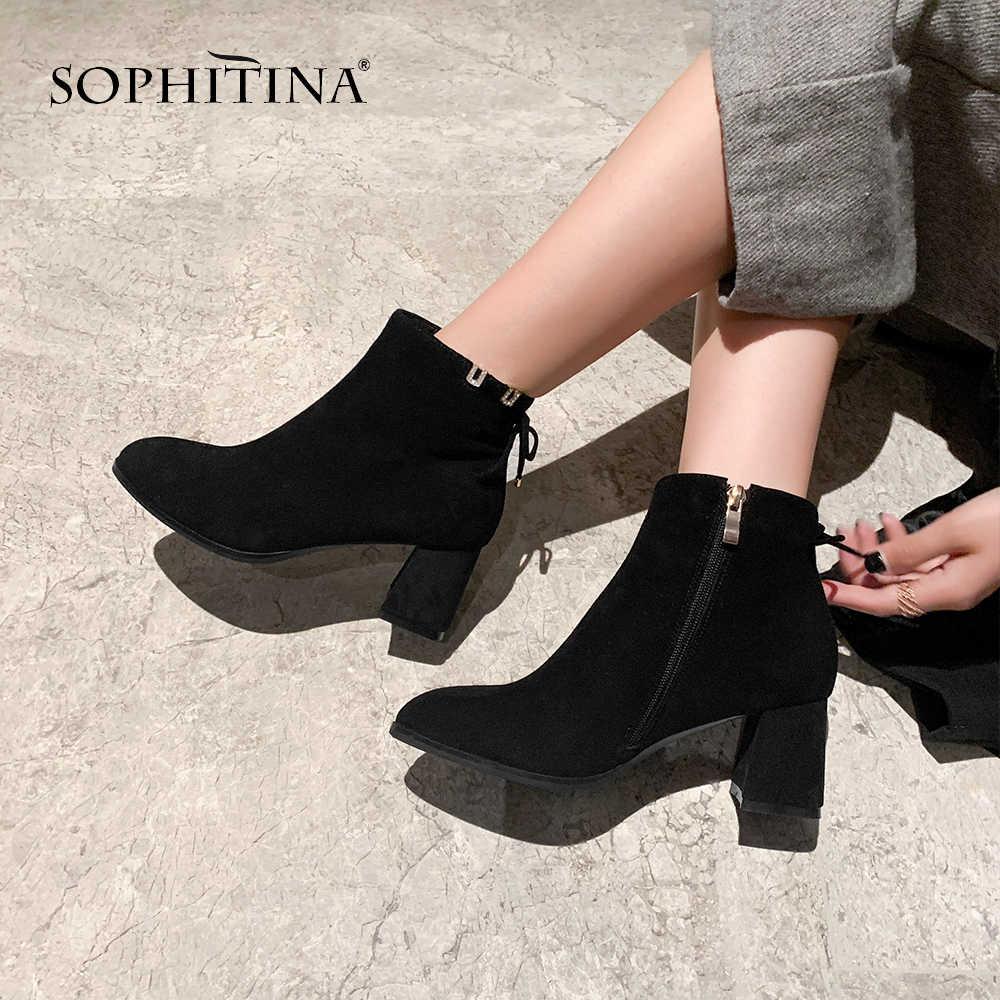 SOPHITINA katı kadın botları rahat yuvarlak ayak yüksek kaliteli çocuk süet zarif seksi ayakkabılar el yapımı kelebek düğümlü botları MO305