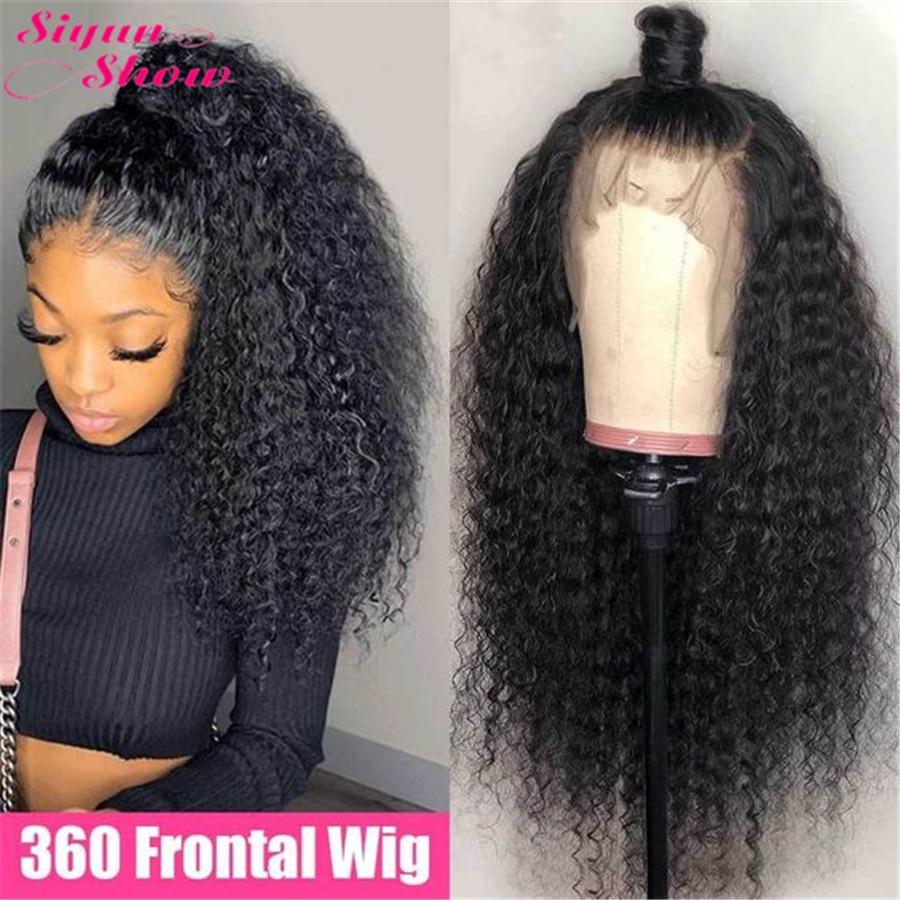 Medyun show peruca de renda 360, peruca encaracolada frontal de cabelo humano 28 polegadas 360 de densidade 250 cabelo encaracolado de cabelo humano