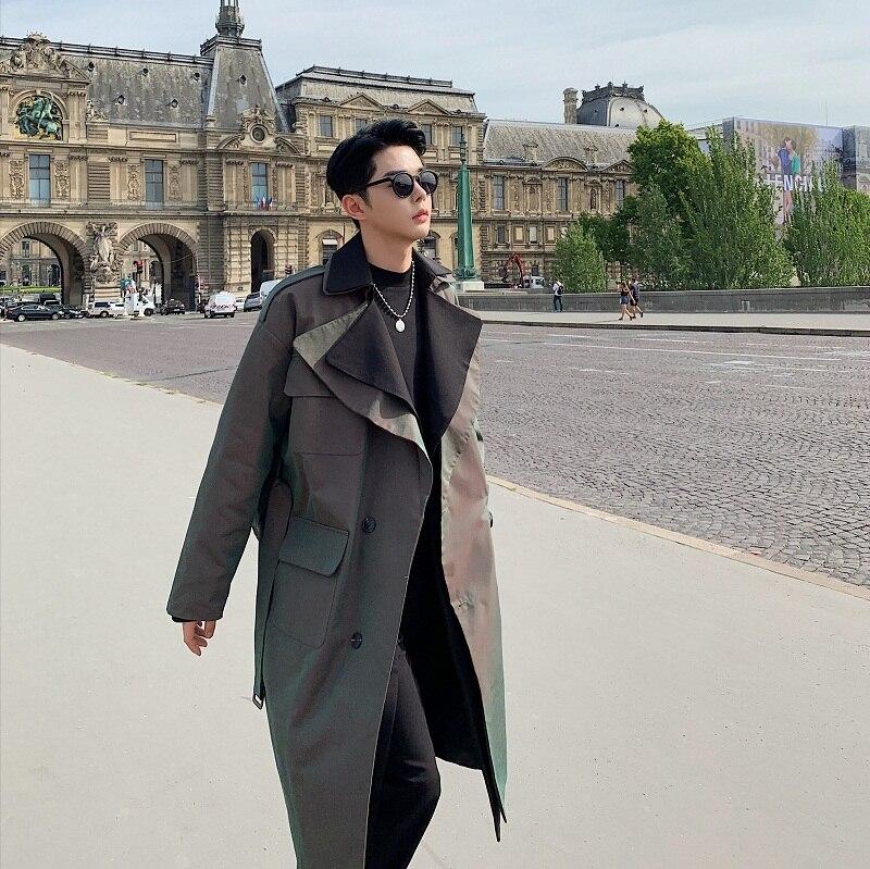 Men Double Layer Collar Loose Casual Vintage Long Jacket Outerwear Male Streetwear Hip Hop Windbreaker   Trench   Coat Overcoat