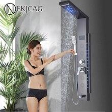 أسود الحمام دش الاستحمام عمود LED المطر شلال صنبور مع شاشة ديجيتال متعددة الوظائف برج خلاط صنبور الدش الحنفية