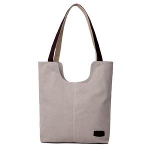 Image 2 - Sac à main en toile de couleur unie, sac à main marque de luxe, sacs à main de bonne qualité, sacs de Shopping en coton grande capacité automne et hiver