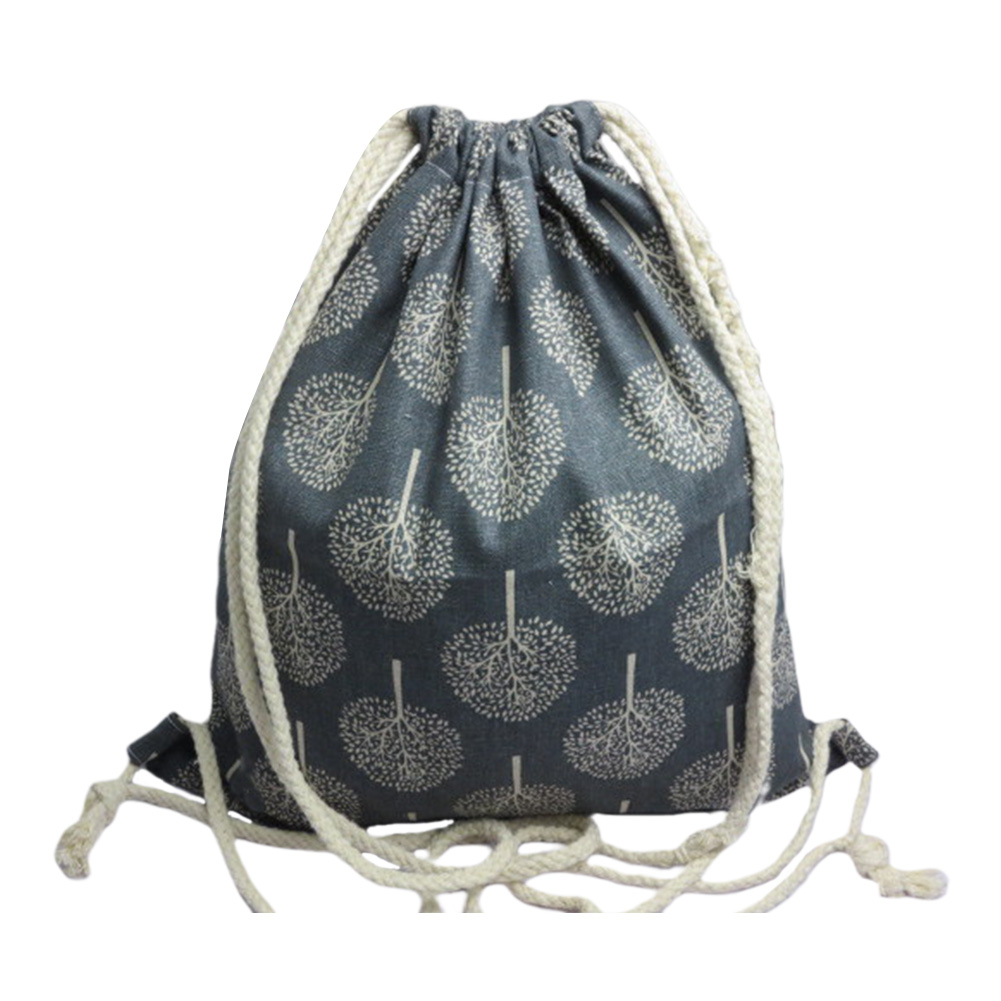 4Pcs Practical Storage Bag Tree Printed Home Cotton Linen Drawstring Shopping Large Capacity Wear Resistant Foldable Travel