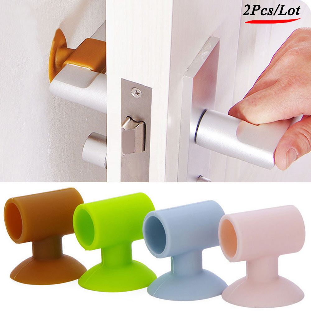 2Pcs/Lot Soft Silicone Anti-Collision Door Protective Pads Suction Cup Type Cabinet Door Handle Lock Silencer Fender