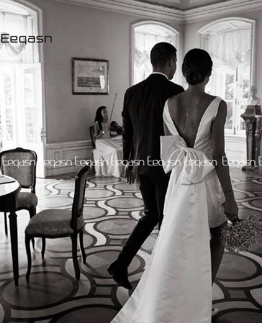Simple Short Wedding Dresses 2021 Satin V Neck Bride Dress Big Bow on Back White Vestido De Novia Plus Size 2