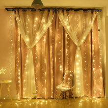 4.5x3m led icicle led curtain fairy string light fairy light 300 led Christmas light for Wedding home window party decor(China)