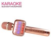 Wireless Karaoke Microphone with disco light Handheld Mic Bluetooth Speaker Mikrofon Karaoke Machine Home KTV Music Player