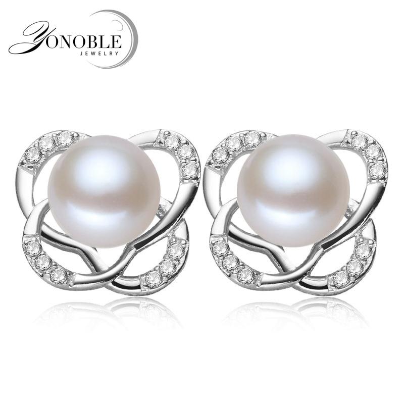 New Women Fashion 925 Silver White Freshwater Pearl Ball Dangle Boucles d/'oreilles