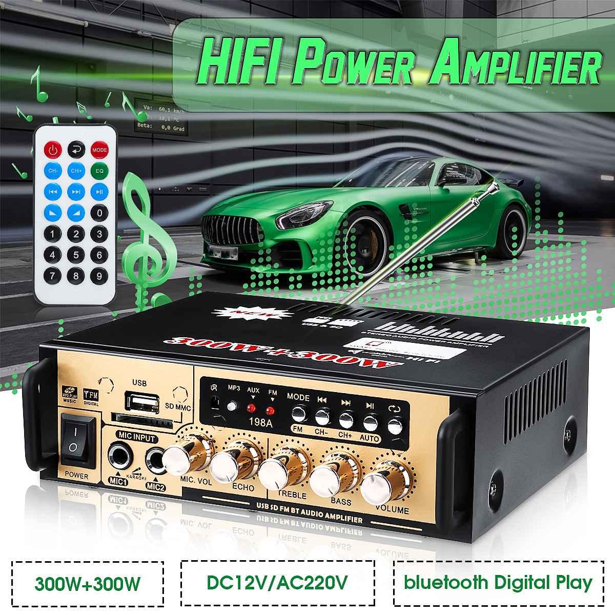 BT-198A 300W+300W Power Car Amplifier HIFI Digital Audio bluetooth AMP FM Radio For Car/Home/Theater