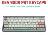 9009 DSA 75 Keys Pbt Keycap Dye Sub Ball Cap Keycaps For Mechanical Keyboard GH60 XD64 GK64 Tada68 Muted Colorway ANSI Keyset
