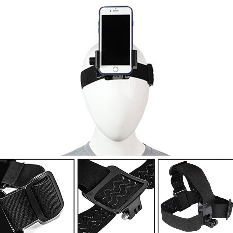 Head Band Phone Holder Head-Mounted Headband Mount Strap Adjustable Belt Cellphone Selfie Mount Clip For 4.5-7 inches Smartphone