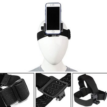 Head Band Phone Holder Head-Mounted Headband Mount Strap Adjustable Belt Cellphone Selfie Clip For 4.5-7 inches Smartphone - discount item  37% OFF Camera & Photo