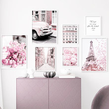 Pintura en lienzo de peonías de la calle de la torre de París rosa para el hogar, carteles nórdicos e impresiones de imágenes de pared para decoración para sala de estar