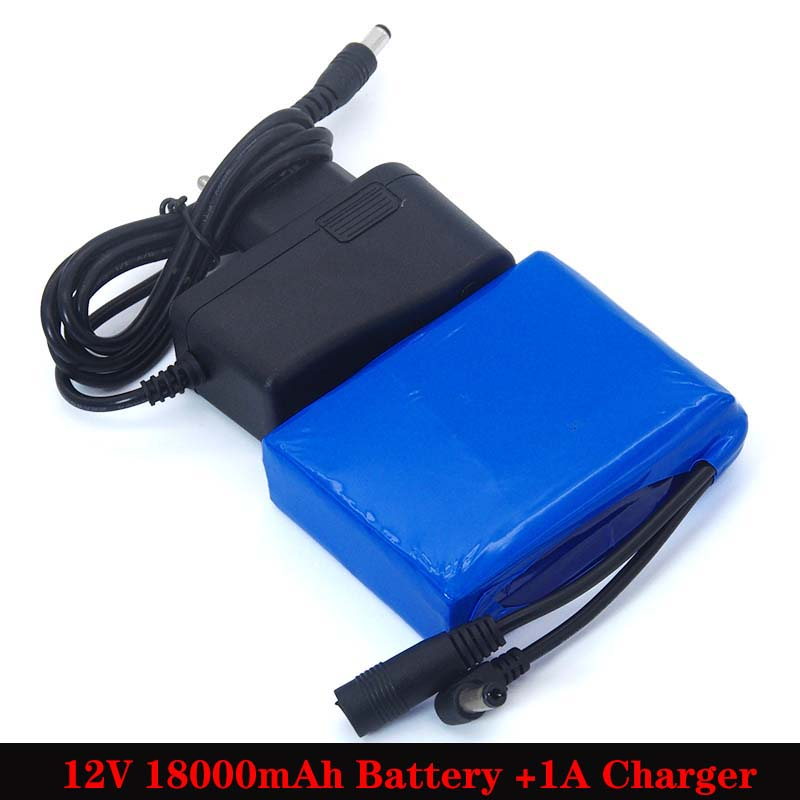 SMALLDEN 12.6V 18000mAh Polymer <font><b>lithium</b></font> <font><b>battery</b></font> pack <font><b>12v</b></font> <font><b>18ah</b></font> for LED light alarm CCTV Cam Monitor DC 5.5*2.1mm + 1A Charger image