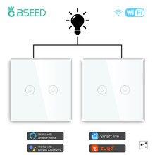 Bseed ue interruptor de toque wifi 2 gang 1/2/3 vias interruptor inteligente led botões painel vidro interruptor inteligente trabalhar com tuya google casa