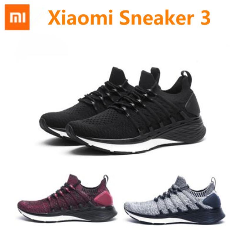 New Xiaomi Mijia Sneaker 3 Mens Running Shoes 3 Uni-moulding 2.0 Fishbone Lock System Elastic Knitting Vamp Shock-absorbing Sole
